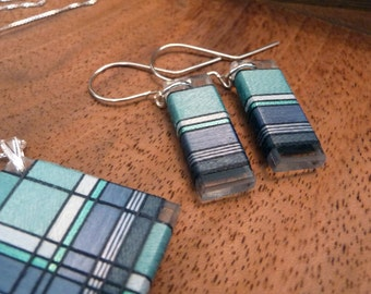 Deep Sea Greens and Blues Thread Wrapped Jewelry Set