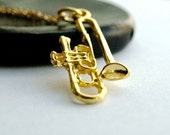 Trumpet musical horn instrument gold plated brass charm Necklace on a delicate gold plated chain