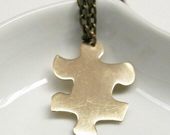 Golden Brass Puzzle Necklace, Puzzle necklace, Puzzle piece necklace, puzzle pendant, puzzle charm, golden brass puzzle pendant