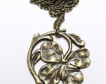 Antiqued brass Lucky Four Leaf Clover Necklace