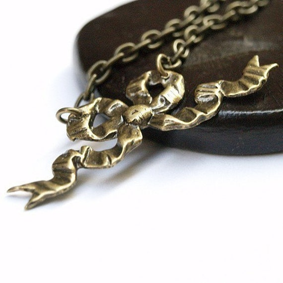 Bow Ribbon Necklace Victorian Small Antiqued Brass Ruffled charm pendant