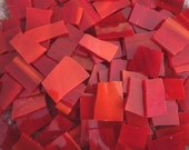 """Mosaic Tiles FIRE red ish 1/2 1"""" Stained Glass 100 pcs Mosaic Tile"""