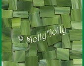 "Mosaic Tiles 100 TRI COLORED GREEN 1/2 - 1"" Stained Glass Mosaic Tile"