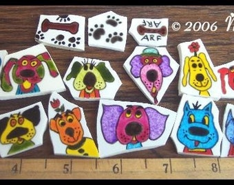 Mosaic Tiles Wild SILLY BRIGHT DOGS hp Handpainted China Tiles