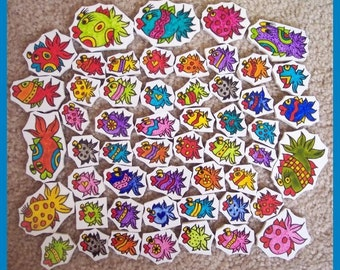 Mosaic Tile Large set Handpainted hp SILLY FISH SET Handcut China Mosaic Tiles