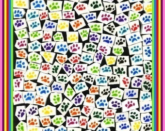 Mosaic Tiles 200 VIBRANT COLORED Dog PAWS Handpainted hp China Mosaic Tile