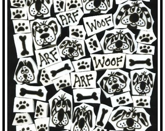 Mosaic Tiles Black N White SILLY DOG SET Mosaic Tile