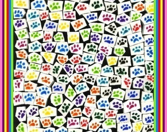 Mosaic Tiles 100 VIBRANT dog PAWS Mosaic Tile