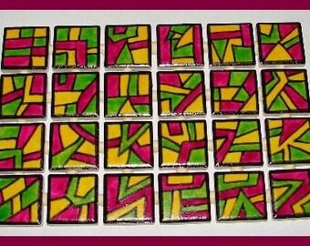 Mosaic Tiles DOODLE SQUARES hp Handpainted  Mosaic Tile