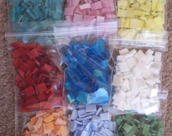 """Mosaic Tile 900 1/2"""" green white red blue pink aqua orange Stained Glass Mosaic Tiles"""