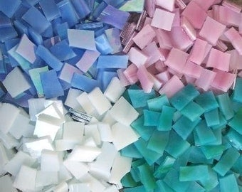 "Mosaic Tiles 400 1/2"" blue pink white Aqua Stained Glass Mosaic Tile"