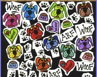 Mosaic Tiles ADORABLE DOG paws hearts PUPPY dogs Mosaic Tile