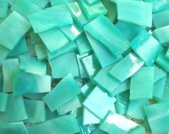 "Mosaic Tiles 100 SEA LAGOON Aqua Green Blue 1/2 - 1"" Stained Glass Mosaic Tile"