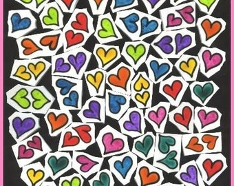 Mosaic Tiles Colored HEARTS hand painted mosaic tile