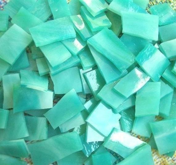 "Mosaic Tiles 100 SEA LAGOON Aqua Green Blue 1/2 - 1"" Stained Glass Mosaic Tile"