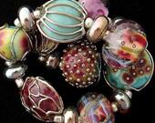 DSG Beads Handmade Organic Lampwork Glass Made To Order - Winter Roses