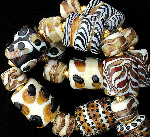 DSG Beads Handmade Organic Lampwork Glass-Made To Order Animal Print