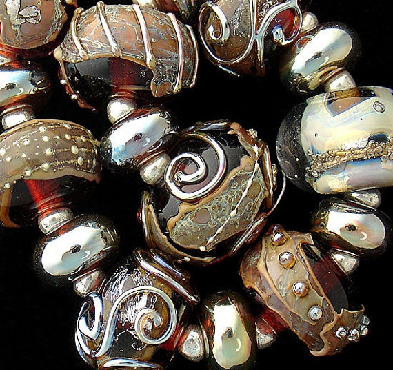 DSG Beads Handmade Organic Lampwork Glass-Made To Order Dark Chocolate