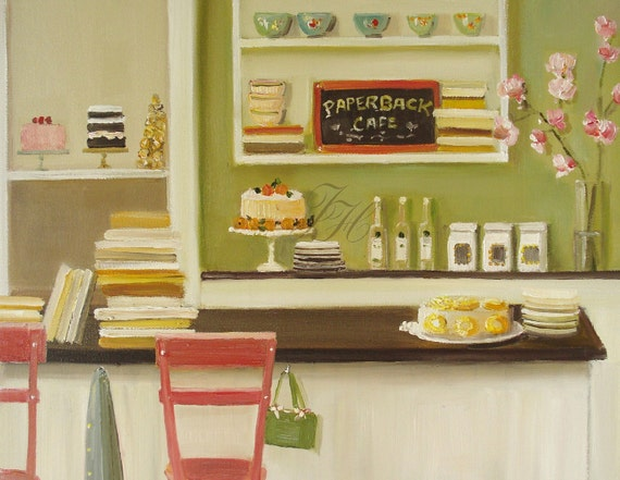 Pineapple Cake At The Paperback Cafe- Open Edition Print