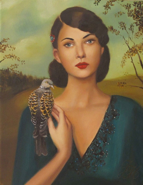 Elspeth With Her Turtledove- Original Oil Painting