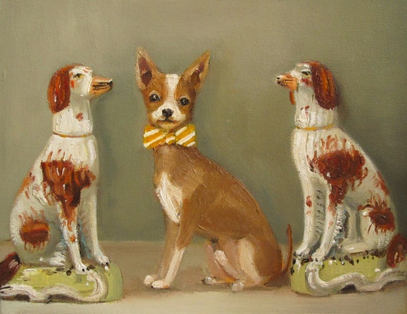 Walter Preferred The Quiet Company Of The Porcelain Dog Figurines- Animal Portrait Print