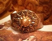 DESTASH Copper Antique 1920s Buckle,Button, Cuff Bracelet, Wristlet VR65