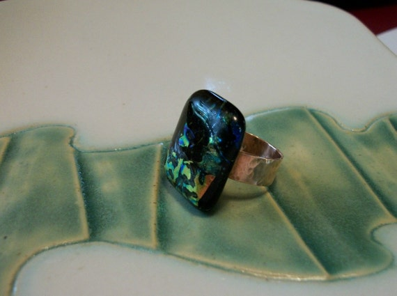 Clearance Sale-Dichroic Glass and Copper Ring size 6.5