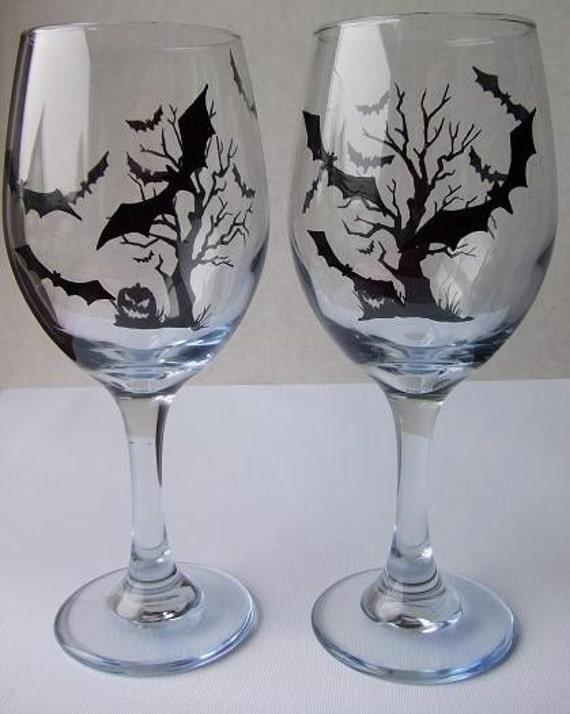 SALE SALE SALE Two Hand Painted Halloween Wine Glasses