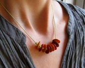 Scarlet and Saffron Rustic Disk Necklace