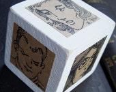 Six Portraits Original Ink Illustrations Wood Art Cube Block Part 2