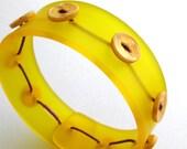 Sunny Yellow Bangle, Modern Plexi Jewelry, Acrylic Bracelet, Butterscotch Yellow, Lemon Drop, Vintage Buttons