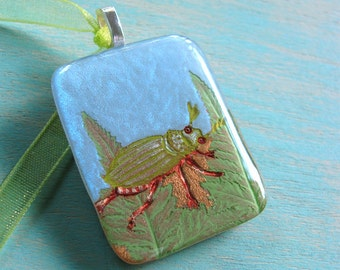 Beetle Pendant, Nature Jewelry, Green Beetle, Fern Fronds, Gift for a Gardener