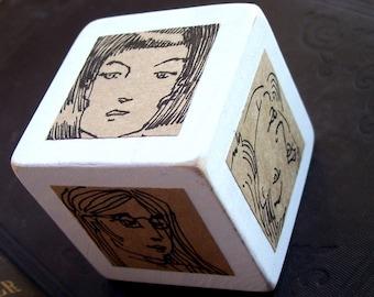 Six Portraits Wood Ink Original Illustration Art Cube