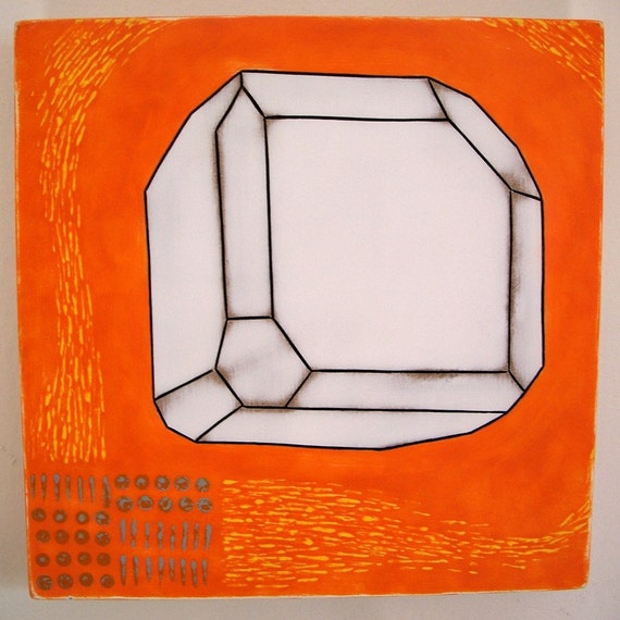 Original Acrylic Painting Crystalline Study Cobaltite Glance Cobalt Geometric Incised Crystal Form Mdf Orange Yellow Blue White Facets