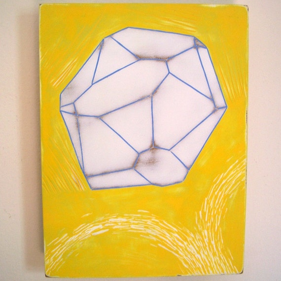 Original Acrylic Painting Glance Cobalt Crystal Form Geometric Mineral Cobaltite Incised Mdf Yellow Blue White Facets