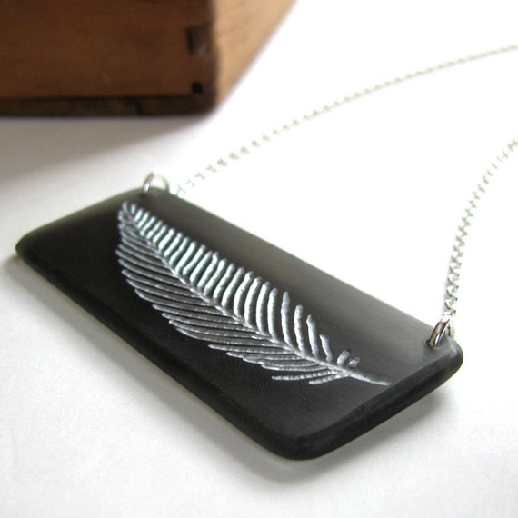 Silvery Charcoal Feather Necklace