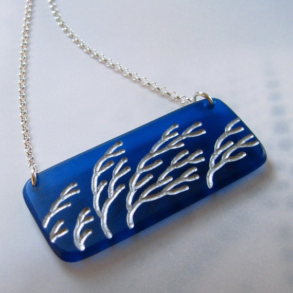 Windy Branches Necklace Cobalt Blue Modern Acrylic Plexi Sterling