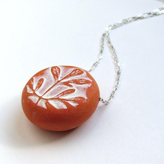 Tangerine Rue Leaf Necklace Modern Nature Necklace Herb of Grace