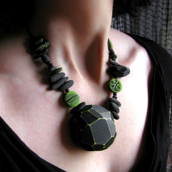 Collect Necklace Modern Geometric Faceted Wood  Botanical Polymer Clay Oxidized Sterling