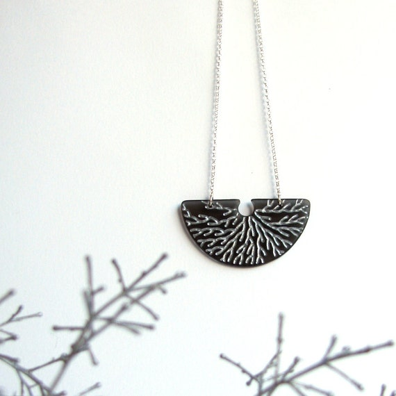 Modern Branches Necklace Rooting Silvery Charcoal Gray Sterling Fan