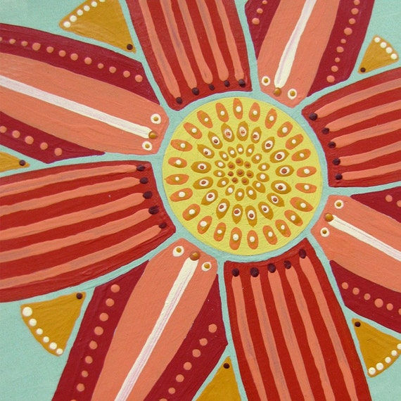 Flower Painting Original Naive Folk Style Decorative Patterns 4 x 6 Red Star Acrylic.