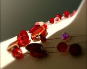 Cassandra 3 tier necklace in shades of red - custom listing for Tamara