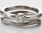Bridal Ring Set - Bezel Set Diamond with Twig Band in White Gold - As Seen in Glamour