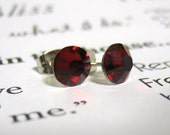 Siam Red Crystal Post Style Earrings 7mm Hypo Allergenic Nickel Free