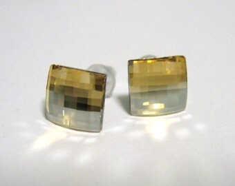 Crystal Golden Shadow Chessboard Post Style Earrings 8mm Hypo Allergenic Nickel Free