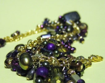 Bracelet Amethyst and Olivine with Gold Accents