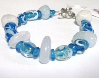 Beaded Bracelet Gemstone and Glass 8 inch