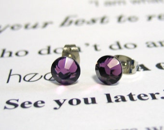 Amethyst Crystal Post Style Earrings 7mm Hypo Allergenic Nickel Free