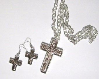 Resin Cross Pendant Necklace and Earrings Set Lavender Silver Light Amethyst Purple