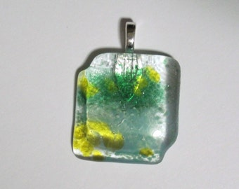 Fused Glass Pendant Clear Green Aqua and Yellow